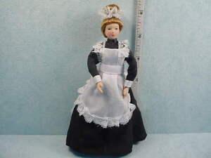 Dollhouse Miniature Maid Doll Porcelain #G7616 Poseable Arms & Legs