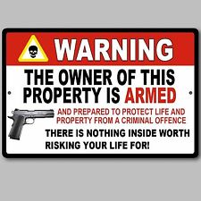 "Gun Pistol Warning Home Business Security Sign Aluminum 8"" x 12"" New"