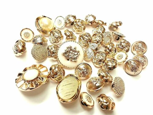 Craft 40pcs Mixed Gold Acryic Buttons Dress Making Sewing Embellishments