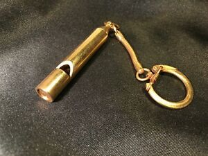 Vintage Heavy Solid Brass Whistle - British Bobby Style - with Keychain