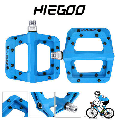 Mountain Bike Pedals Nylon Fiber Bicycle Flat Pedals(20 Spare Pins Included)Blue