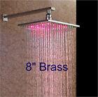 "LED Wall Mounted Brass 8"" LED Rain Shower Head Chrome Square Shower Arm Head"