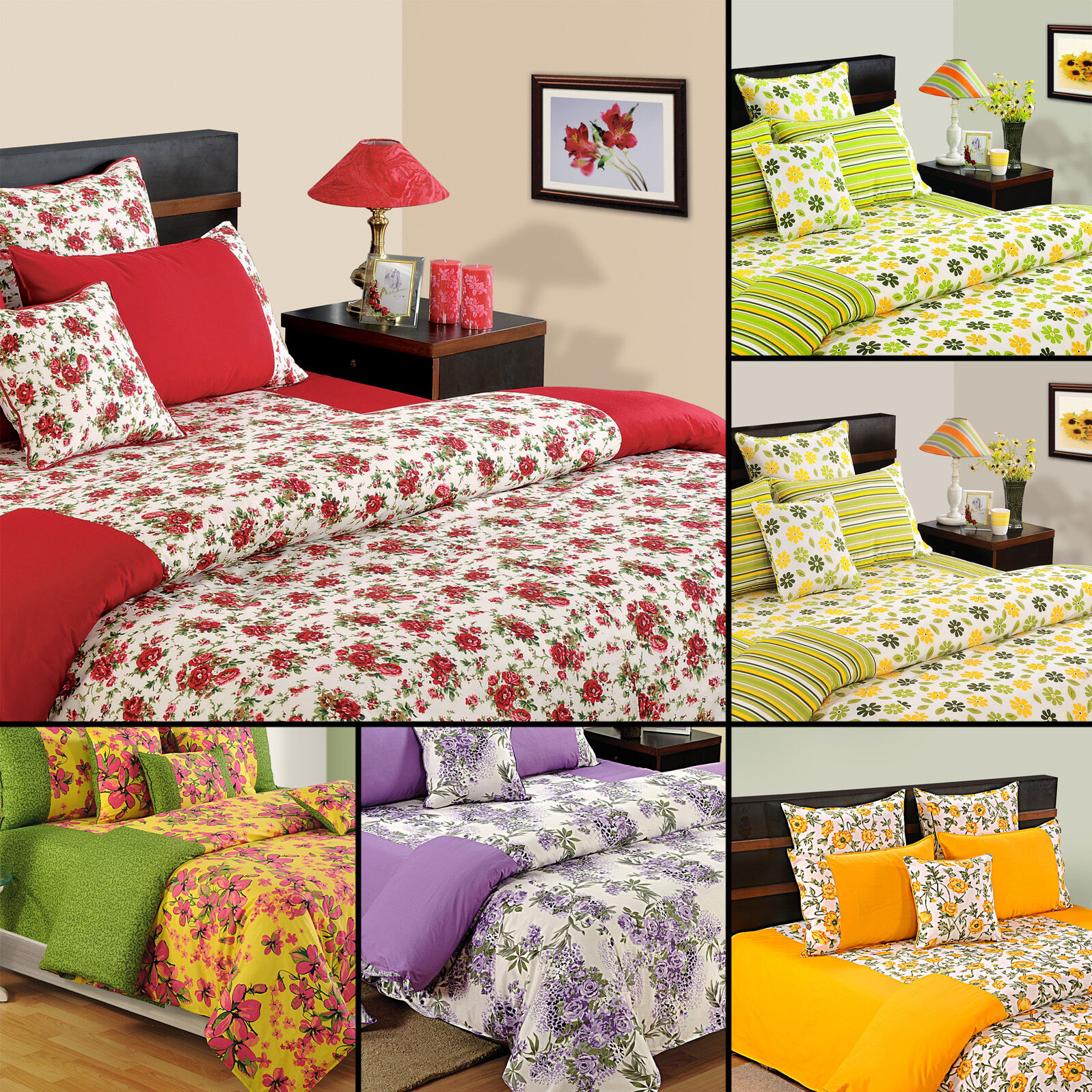 100% Cotton Twin Queen King Taille Decorative Duvet Cover with PilFaible Cover-1069