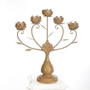 Antik Kerzenständer Gold Kerzenleuchter 87cm Tisch Leuchter