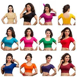 Indian-Ready-Made-Sari-Blouse-Wedding-Party-Wear-Women-039-s-Crop-Top-Saree-Choli