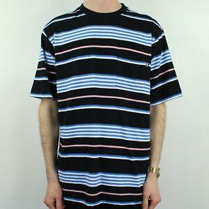 65d90d0864 Stussy Thomas Stripe Crew T-Shirt Tee Brand New in Black/Blue in ...