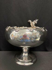 Beacon Silver Co Silver Plate Figural Squirrel Pedestal Nut Bowl #1197