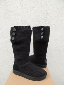 3f7ee7fbdb5 Details about UGG BLACK TALL PURL CARDY KNIT/ SHEEPWOOL BOOTS, WOMEN US 10/  EUR 41 ~NEW