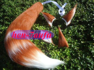 Brown White Fox Tail Ear Halloween Anime Cosplay Long Fur Fox Wolf Ear Any Size