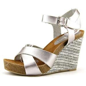 r-b-l-s-Women-039-s-039-Bianca-039-Faux-Silver-Leather-Sandals-Size-7-5