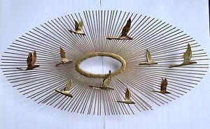 Mid-Century-Curtis-Jere-Style-Birds-In-Flight-Sunburst-Brass-Brutalist-Wall-Art
