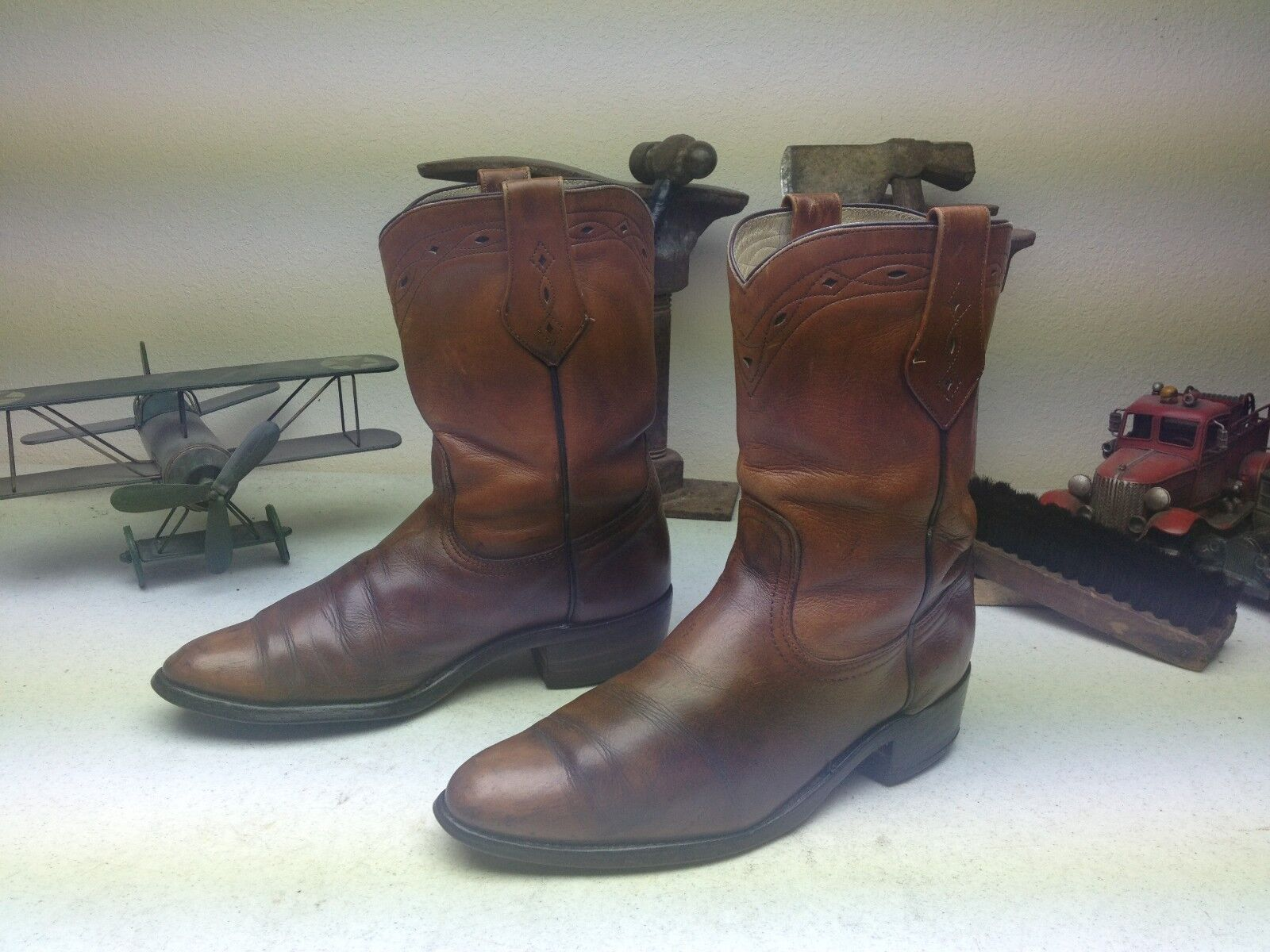 VINTAGE MADE IN USA FRYE BROWN LEATHER WESTERN ENGINEER COWBOY BOOTS SIZE 10 D
