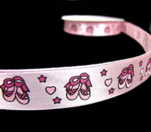 "5 Yds Pink Ballerina Shoes Girly Scrapbook Satin Ribbon 5//8/""W"