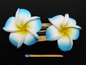 Hawaii-Haarspangen-Duo-6cm-Frangipani-gelb-weiss-blau