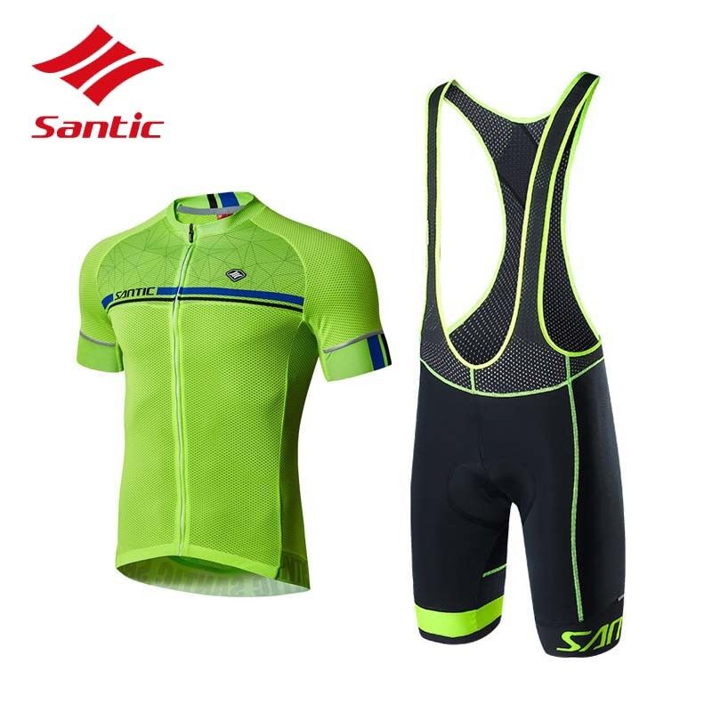 Santic Men Summer Cycling Set Suit Short Sleeve Jersey and Padded Bib Shorts