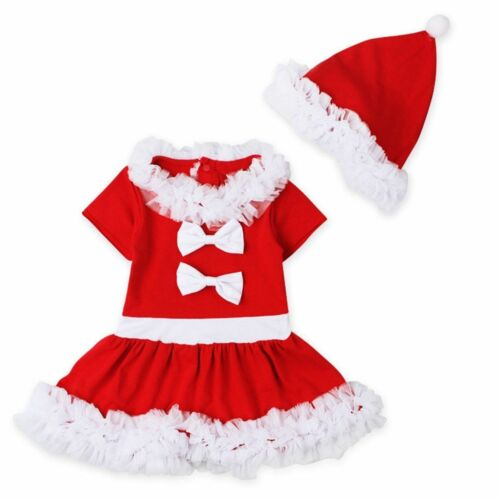 Toddler Baby Girls Christmas Claus Santa Lace Dress Hat Costume Xmas Outfits Set