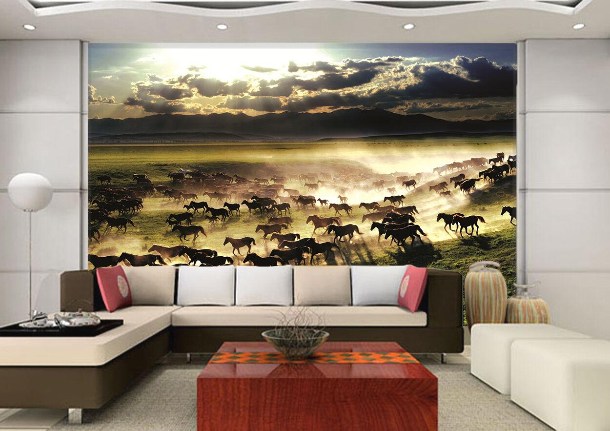 3D Big Horse Group 18 Wall Paper Wall Print Decal Wall Deco Indoor AJ Wall Paper