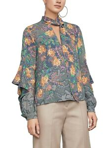 NEW-BCBG-MAXAZRIA-FATIGUE-JADE-LONG-SLEEVE-FLORAL-TOP-GCA1Z292-B872W-SIZE-L