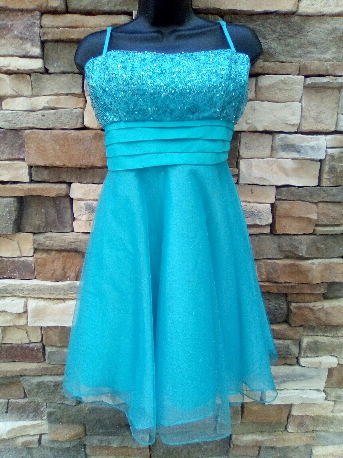 NWT Dancing Queen Med. Blue Short Prom Dress w/ Adjustable Spaghetti Straps