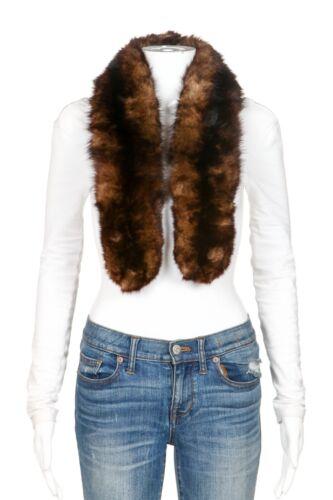 I.MAGNIN ECO Vintage Real Genuine Fur Scarf Brown