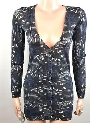 John Richmond Maglia Da Donna Giacca Cardigan Giacca Pullover Felpa Blu S, M-mostra Il Titolo Originale Texture Chiara