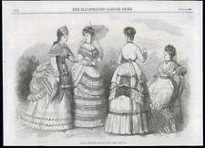 1869 Antique Print - FRANCE PARIS LADIES AUGUST FASHIONS DRESSES PARASOL (174)