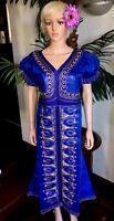 Lady Mia's Of Africa Xxl Women's African Dress Caftan Tunic Blue Wax Cotton