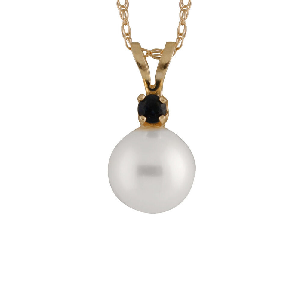 7-7½mm white round freshwater pearl pendant 17  chain. 5pts sapphire RB-14-7S-P