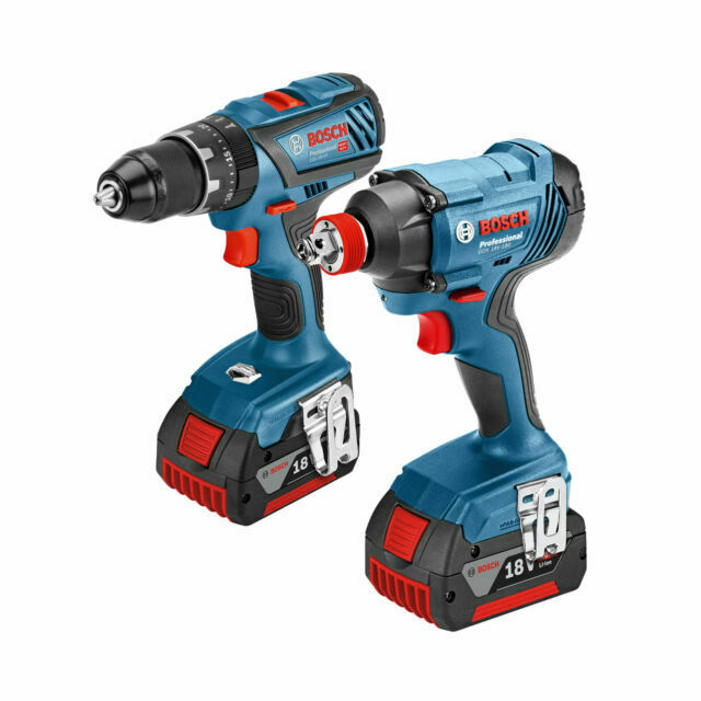 GDX 18 V-LI Cordless Impact Driver with Two 18 V 5.0 Ah Lithium-Ion Batteries L-Boxx Bosch Professional GSB 18 VE-2-LI Cordless Combi Drill