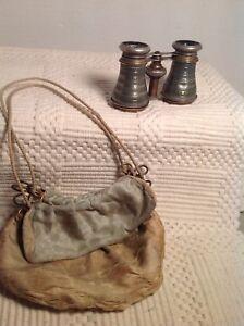 ANTIQUE-BINOCULARS-OPERA-GLASSES-PARIS-FRANCE-And-Cloth-Bag