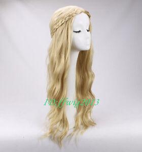 Maleficent Princess Aurora Wig Long Wavy Blonde Braid Cosplay Wig +a wig cap