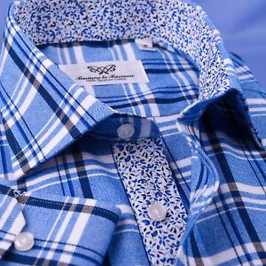 Blue-Flannel-Spread-Collar-With-Italian-Foral-Casual-Dress-Shirt-Blue-Top-B2B