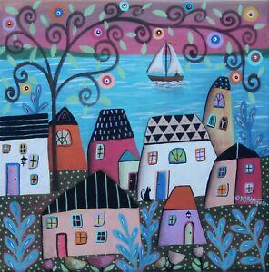 Sail-Away-12-x-12-ORIGINAL-CANVAS-PAINTING-Folk-ART-SEA-ABSTRACT-Karla-Gerard