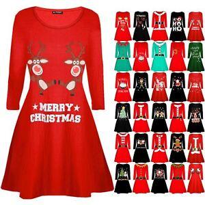 Womens-Ladies-Christmas-Xmas-Santa-Face-Gifts-Reindeer-Flared-Swing-Mini-Dress