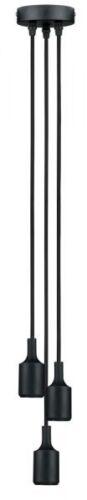 Paulmann Pendel 3-fach mit E27-Fassung und Stoffkabel Schwarz