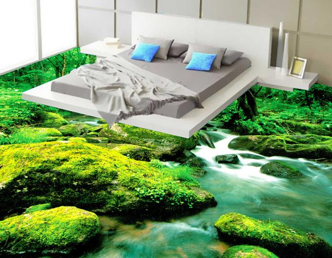 3D Forest River 53 Floor WallPaper Murals Wall Print 5D AJ WALLPAPER UK Lemon