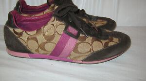 Coach-JOSS-Khaki-Brown-Purple-Jacquard-Suede-Sneakers-Shoes-Sz-8-GUC