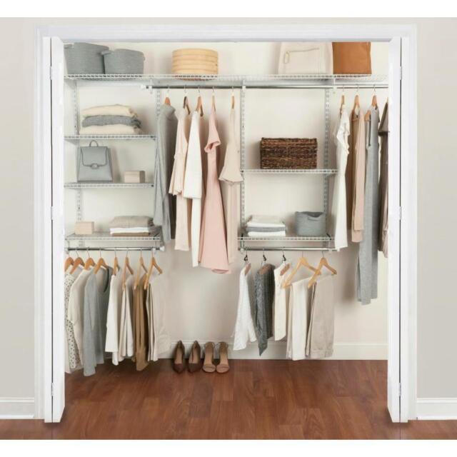 NEW Rubbermaid FastTrack Wire Closet Kit Adjustable Shelves White Organizer  NIB