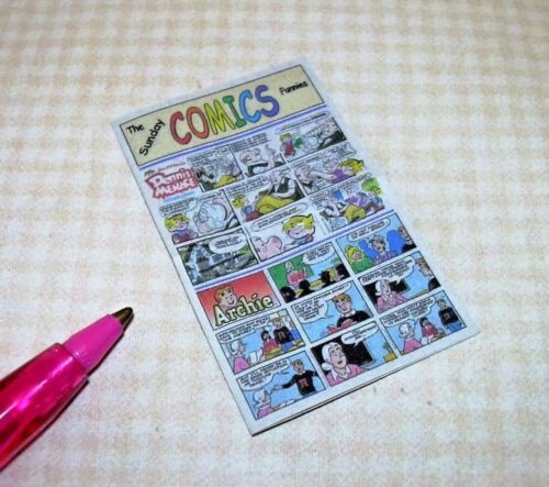 "Miniature /""Cindi/'s Minis/"" Sunday Comics Pages Funnies DOLLHOUSE 1:12"
