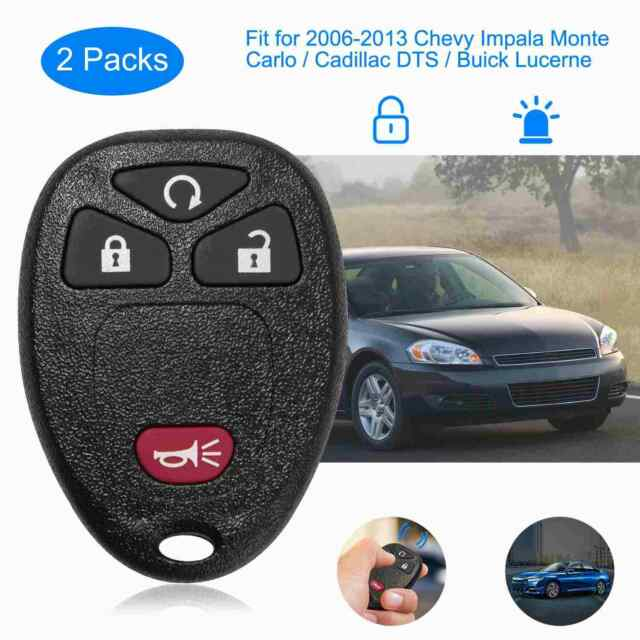 Set of 2 Car Key Fob Keyless Entry Remote fits Chevy Impala Monte Carlo//Cadillac DTS//Buick Lucerne OUC60270, OUC60221