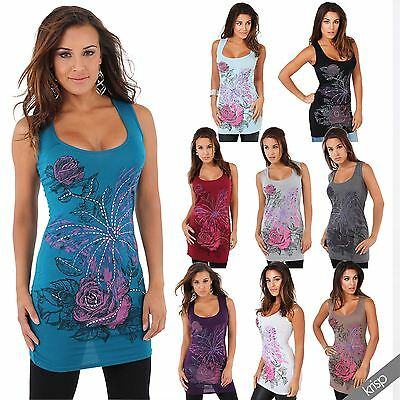 Womens Ladies Racer Lace Back Floral Butterfly Print Sleeveless Long Vest Top