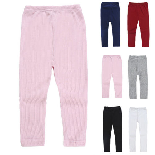 Kid/'s Girl/'s Toddler Solid Color Casual Knitting Elastic Leggings Pants Trousers