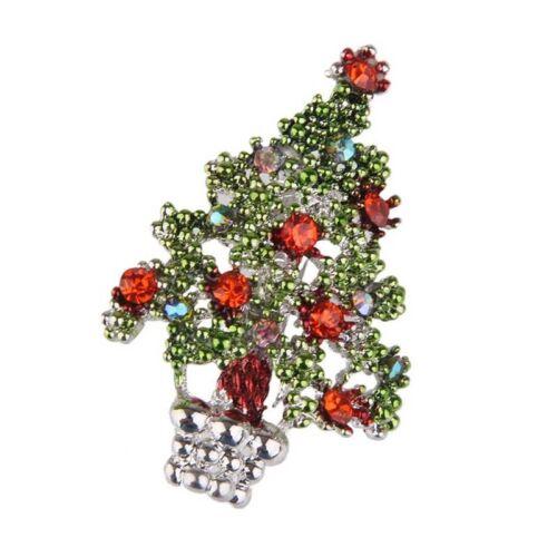 Broche d/'email en cristal en strass Broche en forme d/'arbre de Noel vert Y8C6