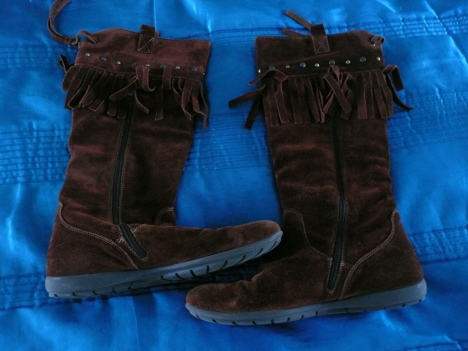 Jones Boots Tassels Tan Brown Girls Ladies Kids Suede Cowboy Womens Size 37