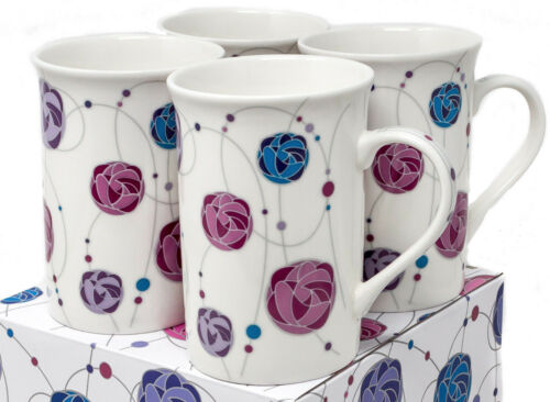 Set of 4 Matching China Mugs With Rennie Mackintosh Rose Style Design NEW BOXED
