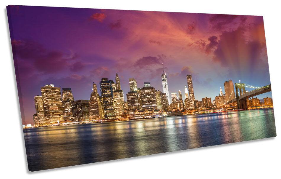 New york city manhattan art sunset panorama box frame canvas art