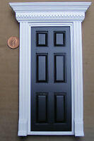 1:12th Black Painted Wooden Fairy Front Door Dolls House Miniature Accessory 696