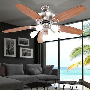 Deckenventilator-Zugschalter-Beleuchtung-Ventilator-Leuchte-MDF-Buche-Globo-0337