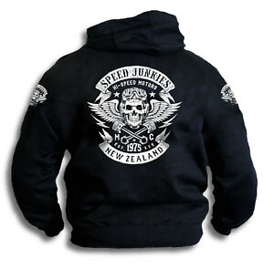 Speed-Junkies-New-Zealand-Biker-Skull-Wings-Pistons-Patch-Mens-Hooded-Top