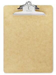 Lot of 12 Pieces - ULINE Hardboard Clipboards- Letter Size